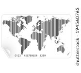 world map in the bar code... | Shutterstock .eps vector #194560763