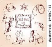Wild West Cowboy Hand Drawn Se...