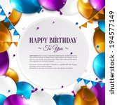 vector birthday card with... | Shutterstock .eps vector #194577149