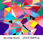abstract geometric watercolor... | Shutterstock . vector #1945788916