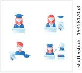 graduation flat icons set....