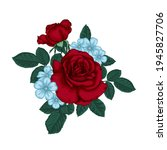beautiful bouquet with red... | Shutterstock .eps vector #1945827706