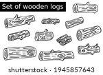 doodle set of wooden logs.... | Shutterstock .eps vector #1945857643