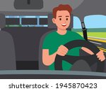 man driving a car. car interior ... | Shutterstock .eps vector #1945870423