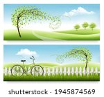 two nature meadow banners with...   Shutterstock .eps vector #1945874569