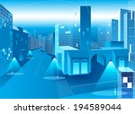 vector blue city  | Shutterstock .eps vector #194589044