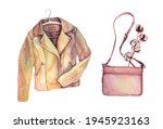 Watercolor Beige Leather Jacket ...