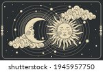 sun and a crescent moon with a... | Shutterstock .eps vector #1945957750
