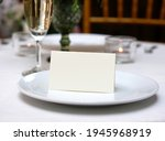 mockup white blank space card ... | Shutterstock . vector #1945968919