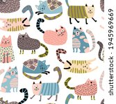 cats seamless pattern. funny...   Shutterstock .eps vector #1945969669