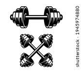 fitness dumbbells isolated on...   Shutterstock .eps vector #1945974880