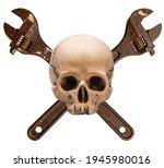 plumber or mechanic skull... | Shutterstock . vector #1945980016