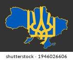ukraine map flag with coat of... | Shutterstock .eps vector #1946026606