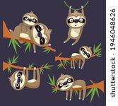 sloths hang  lie on tree... | Shutterstock .eps vector #1946048626