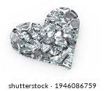 Broken Glass Heart Symbol On A...