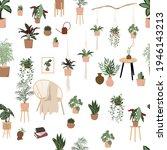 houseplants seamless pattern... | Shutterstock .eps vector #1946143213