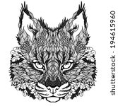 lynx   bobcat head tattoo.... | Shutterstock .eps vector #194615960