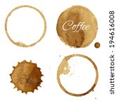 coffee stains collection ... | Shutterstock .eps vector #194616008