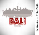 Bali Indonesia skyline silhouette design, vector illustration.