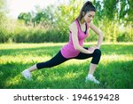 young woman portrait stretching ... | Shutterstock . vector #194619428