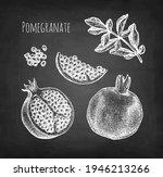 pomegranate. chalk sketches on... | Shutterstock .eps vector #1946213266