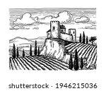 hand drawn vineyard landscape.... | Shutterstock .eps vector #1946215036