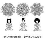 set of afro yoga woman doing...   Shutterstock .eps vector #1946291296