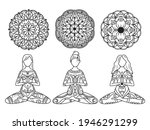 yoga woman set. collection of... | Shutterstock .eps vector #1946291299