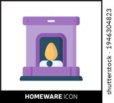 colorful cartoon fireplace icon ...