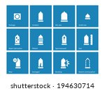 Condom and contraception icons on blue background. Vector illustration.