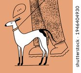 dog on a leash  walking around... | Shutterstock . vector #1946404930