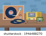 vinyl and cassette players with ...   Shutterstock .eps vector #1946488270