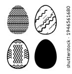 easter eggs icons set for happy ...   Shutterstock . vector #1946561680