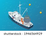 isometric shipping seafood... | Shutterstock .eps vector #1946564929