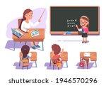 teacher woman teaching kids...   Shutterstock .eps vector #1946570296