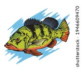 fishing logo with peacock bass... | Shutterstock .eps vector #1946609470