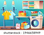 laundry room with clean or...   Shutterstock .eps vector #1946658949