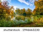 Autumn Forest Pond Landscape....