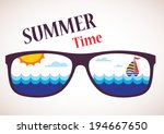 sunglasses with summer view of... | Shutterstock .eps vector #194667650