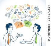 doodle business conversation... | Shutterstock .eps vector #194671694