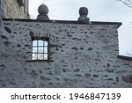 Stone wall of the chateau de valere, sion, switzerland.