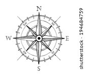 Compass Wind Rose Hand Drawn...