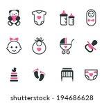 baby icons. vector set. | Shutterstock .eps vector #194686628