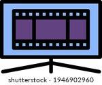 cinema tv screen icon. editable ...