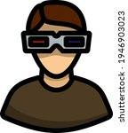 man with 3d glasses icon....
