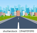 road way to city buildings on... | Shutterstock .eps vector #1946959390