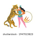 the circus tiger dancing with... | Shutterstock .eps vector #1947015823