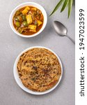 Lachha paratha or chur chur naan with chilli paneer