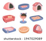 a set of beds for a pet  dog or ...   Shutterstock .eps vector #1947029089