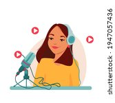 radio host with table flat... | Shutterstock .eps vector #1947057436